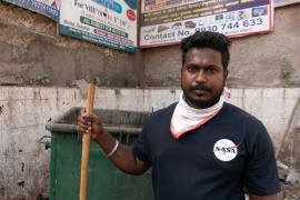 Sayaba Kunchikorwe has been reporting to work daily as the work he does comes under the essential services exempted from the country-wide lockdown called by Modi [Shone Satheesh Babu/Al Jazeera]
