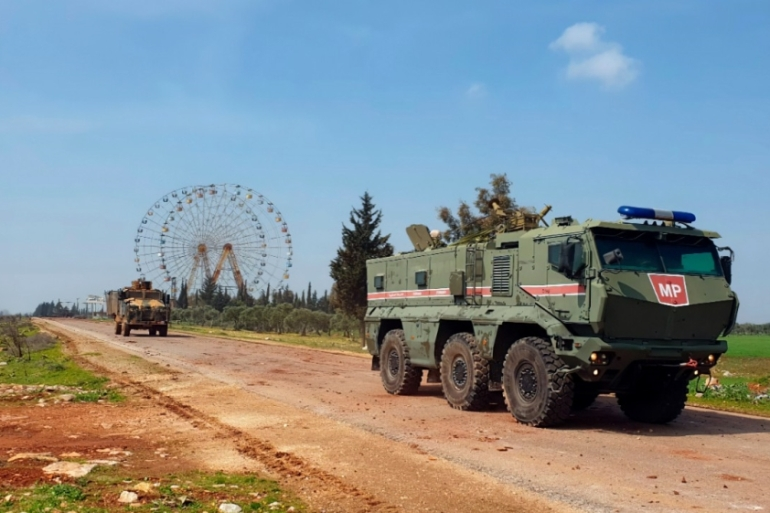 Turkish and Russian troops began joint patrols Sunday on a key highway in northwest Syria, according to Ankara [Turkish Defence Ministry via AP]