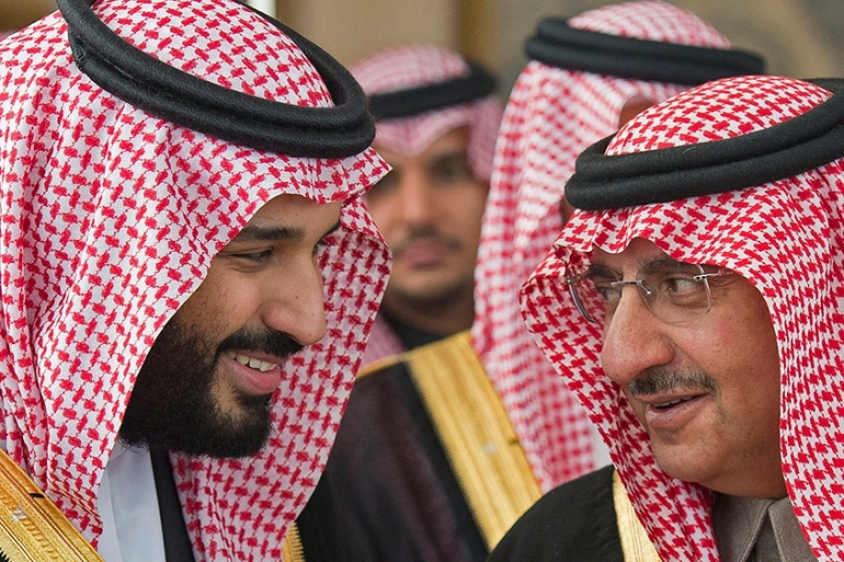 A 2016 photo sowing Mohammed bin Salman (MBS), left, with Mohammed bin Nayef [File: Bandour al-Jaloud/Saudi Royal Palace/AFP]