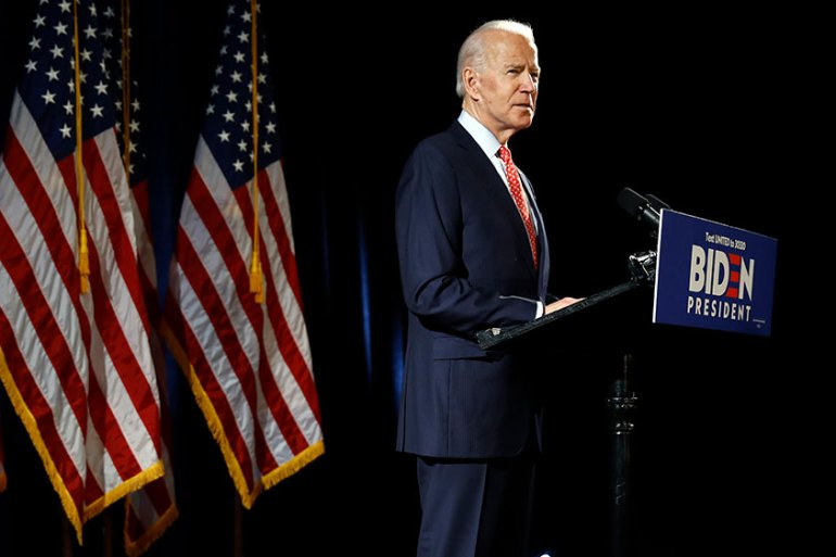 Democratic presidential candidate Joe Biden speaks about the coronavirus Thursday in Wilmington, Delaware in the United States [Matt Rourke/AP Photo]