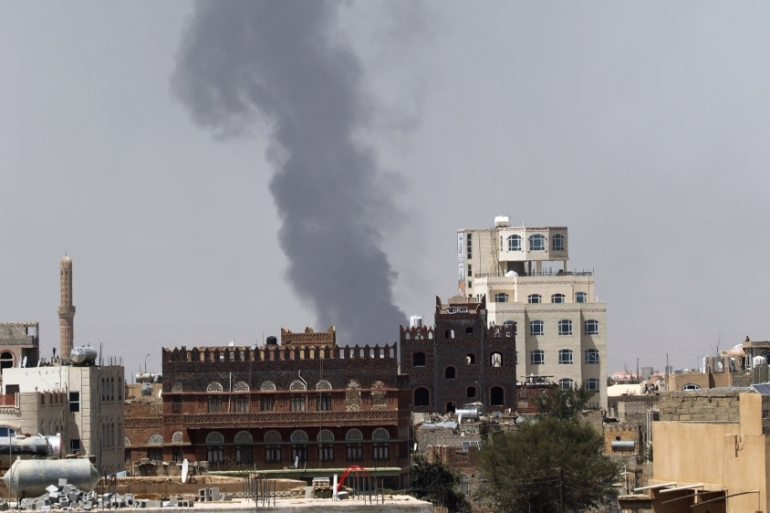 Smoke billows from the site of a Saudi-led air raid in Sanaa on March 30 [File: Khaled Abdullah/Reuters]