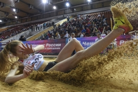 Russia's Maria Privalova competes in the women's triple-jump event during the national athletics indoor championships in Moscow [Kirill Kudryavtsev/AFP]