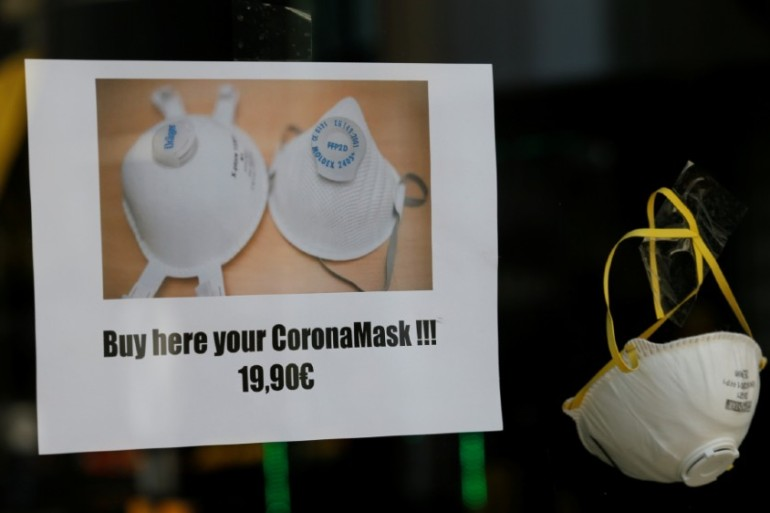 Face masks for sale in Vienna, the capital of Austria [Leonhard Foeger/Reuters]
