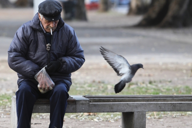 Argentina announced that specific hours of attention would be set aside for senior citizens at banks, medical centres, and other services to reduce their risk of exposure to COVID-19 [File: Enrique Marcarian/Reuters]