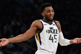 Utah Jazz guard Donovan Mitchell reacts during a game against the New York Knicks [File: Sarah Stier/AP Photo]