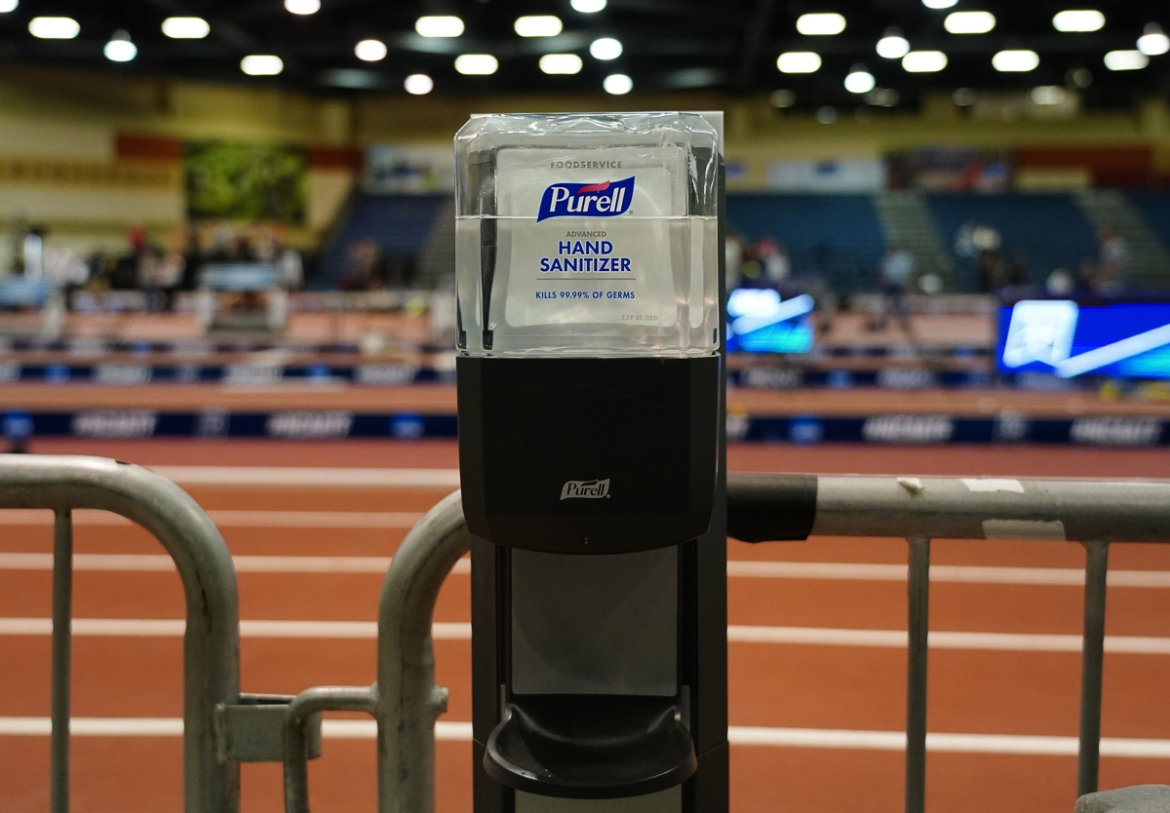 Hand sanitiser is seen at the track before the NCAA Indoor Championships, in Albuquerque Convention Center, which were cancelled because of the coronavirus. [Kirby Lee/USA Today Sports via Reuters]