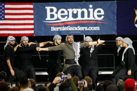 The Mawtini Dabkeh Troupe performs during a campaign rally for Democratic presidential candidate Bernie Sanders in Dearborn, Michigan. [Paul Sancya/AP Photo]