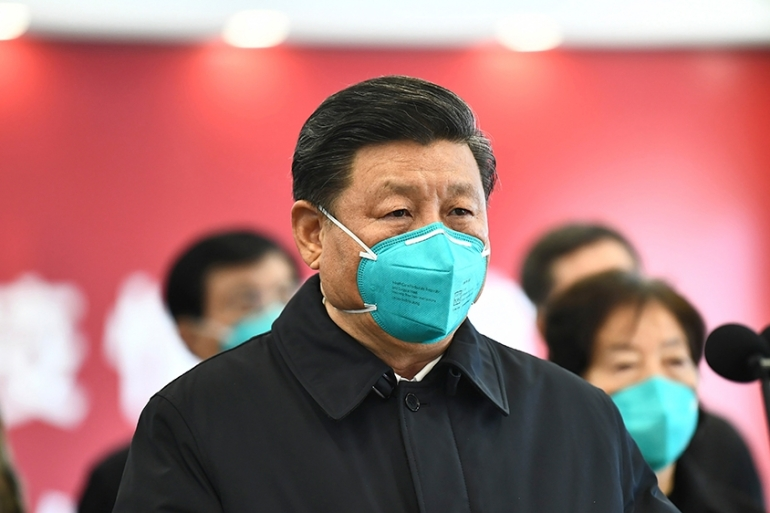 This was President Xi's first appearance in the region, which has been under lockdown for weeks [Xie Huanchi/Xinhua via AP]