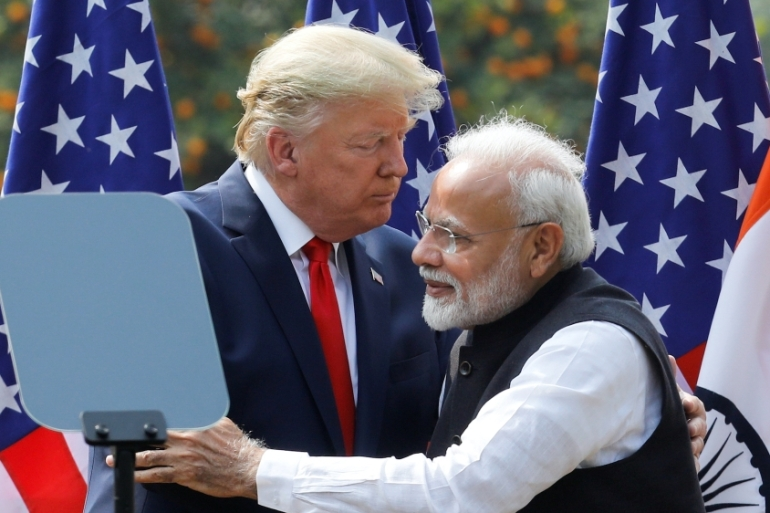 US President Donald Trump and India's Prime Minister Narendra Modi embrace during a joint news conference after bilateral talks in New Delhi on February 25, 2020 [File: Adnan Abidi/Reuters]