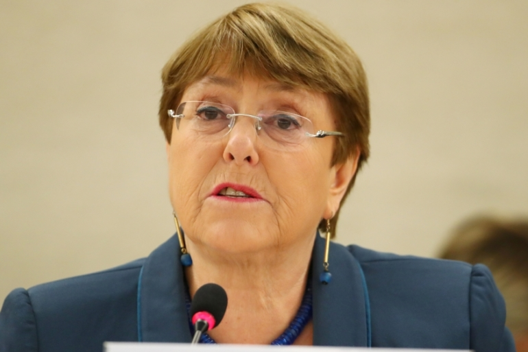 UNHRC chief Michelle Bachelet informed India of its application to be a third party in a petition brought by a former civil servant [Denis Balibouse/Reuters]