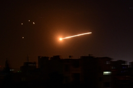 A handout picture released by the official Syrian Arab News Agency (SANA) on February 24, 2020, reportedly shows Syrian air defence intercepting an Israeli missile in the sky over the capital Damascus. [File: AFP]