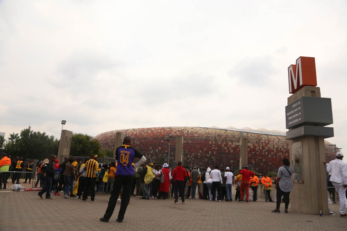 A view of Johannesburg's FNB Stadium, which normally hosts the Soweto Derby. The 90,000-seat venue also hosted the final in the 2010 FIFA World Cup. [Antony Kaminju/Al Jazeera]