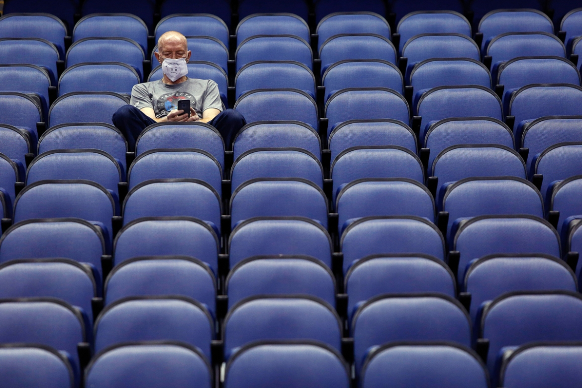 An empty Greensboro Coliseum after the NCAA college basketball games were cancelled at the Atlantic Coast Conference tournament in Greensboro, North Carolina. [Ben McKeown/AP Photo]