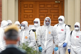 Members of the Military Emergency Unit found the abandoned elders and corpses while carrying out disinfection procedures in Madrid [Susana Vera/Reuters]