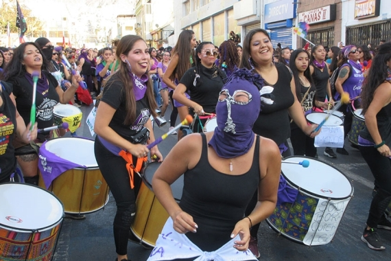 An all-women marching band energises the crowd at the International Women's Day march in Antofagasta [Sandra Cuffe/Al Jazeera]