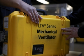 A ventilator is repacked at the New York City Emergency Management warehouse to be shipped out for distribution as doctors ring the alarm that many more are desperately needed to support coronavirus patients with respiratory failure or difficulty breathing [Caitlin Ochs/Reuters]