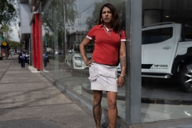 Kenya stands on the corner where she used to work in Buenavista, Mexico City, just metres from where her friend Paola was murdered [Toya Sarno Jordan/Al Jazeera]