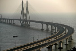 A view of Mumbai's Bandra-Worli sea link over the Arabian Sea as seen during a 14-hour lockdown to limit the spread of coronavirus. [Francis Mascarenhas/Reuters]