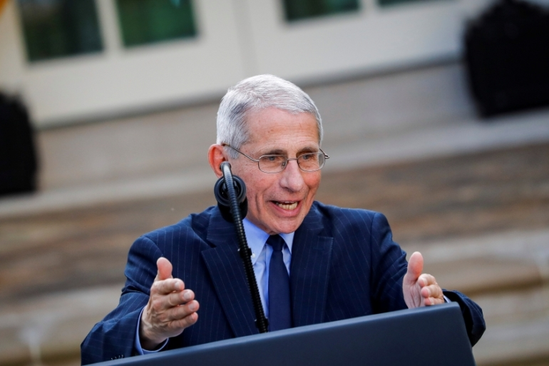 Dr Anthony Fauci speaks during a news conference in the Rose Garden of the White House in Washington, DC [Al Drago/Reuters]