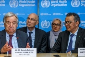 United Nations Secretary-General Antonio Guterres and the World Health Organization Director-General, Tedros Adhanom Ghebreyesus, give an update on COVID-19 in Geneva in February 2020 [File: Reuters]