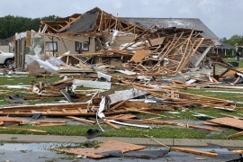 Tornados ripped through the southern US state of Mississippi, killing at least 11 people, officials said April 13, 2020, as they gathered information on the extent of the damage caused by the storms [Handout /The City of Monroe/AFP]