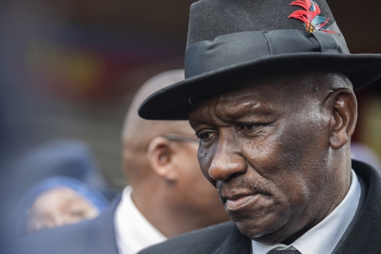 South African Minister of Police General Bheki Cele listens to community members on the Cape Flats in Mitchells Plain, Cape Town, August 12, 2019 [File: Nic Bothma/EPA]