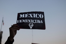 A demonstrator holds up a stencil of the Spanish message: 'Mexico Femicide' in Mexico City [File: Ginnette Riquelme/Reuters]