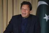Pakistan's Prime Minister Imran Khan speaks to The Associated Press news agency, in Islamabad, Pakistan, Monday, March 16, 2020 [File: AP/BK Bangash]