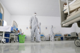 Medical staff pictured at a quarantine centre built in preparation for a possible spread of COVID-19 in Sanaa [Khaled Abdullah/Reuters]