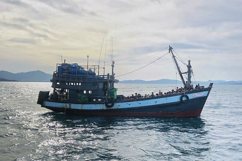"According to the United Nations refugee agency, UNHCR, the stranded Rohingya might ""have been at sea for weeks without adequate food and water"" [EPA-EFE/Malaysia Maritime Enforcement Agency handout]"