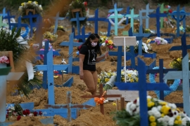 Brazil has held collective burials for those who have died of coronavirus [Bruno Kelly/Reuters]