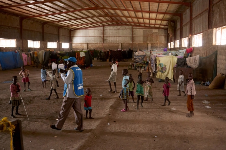 President Kiir last week imposed a curfew from 8pm to 6am for six weeks and closed borders, airports, schools, churches and mosques [Alex McBride/AFP]
