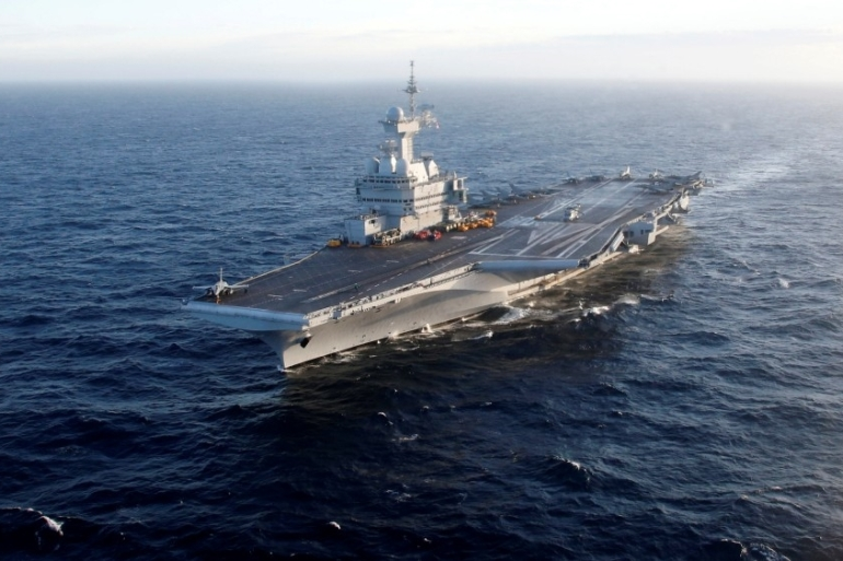 French aircraft carrier Charles de Gaulle in the Mediterranean Sea, March 7, 2019 [File: Jean-Paul Pelissier/Reuters]