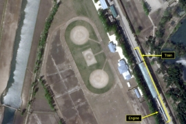 A special train possibly belonging to North Korean leader Kim Jong Un is seen in a satellite image taken over Wonsan, North Korea on April 23, 2020 [File: Planet Labs-38 North/Handout via Reuters]