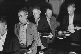 Unemployed men at Volunteers of America Soup Kitchen, Washington, 1936 [REUTERS/Franklin D. Roosevelt Presidential Library and Museum/National Archives and Records Administration/Handout]