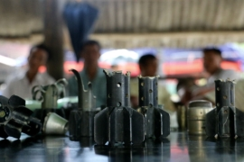 Ammunition that displaced villagers say was fired by the Tatmadaw, in September 2019 [File: Verena Hoe/Al Jazeera]
