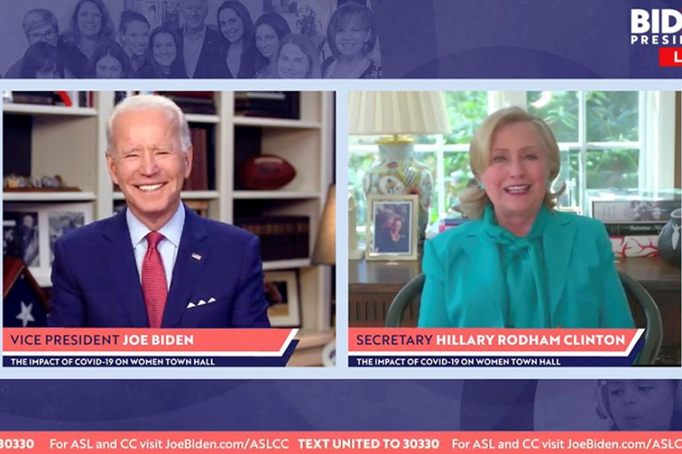 Democratic United States presidential candidate Joe Biden smiles as Hillary Clinton endorses him for president in a video screengrab, made during an online town hall meeting on women run from Biden's home in Wilmington, Delaware [Biden For President/Handout/Reuters]