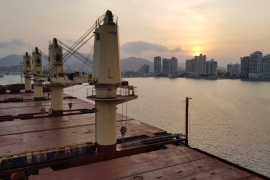 A bulk carrier docks at Santa Marta port in Colombia, where seafarers fear infection by port staff and dock workers when they board vessels for routine inspections [Credit: Stanislaw]