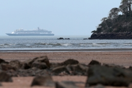 The Holland America Line cruise ship MS Zaandam pictured, where passengers have died on board, as the COVID-19 outbreak continues, in Panama City, Panama March 28, 2020 [Erick Marciscano/Reuters]