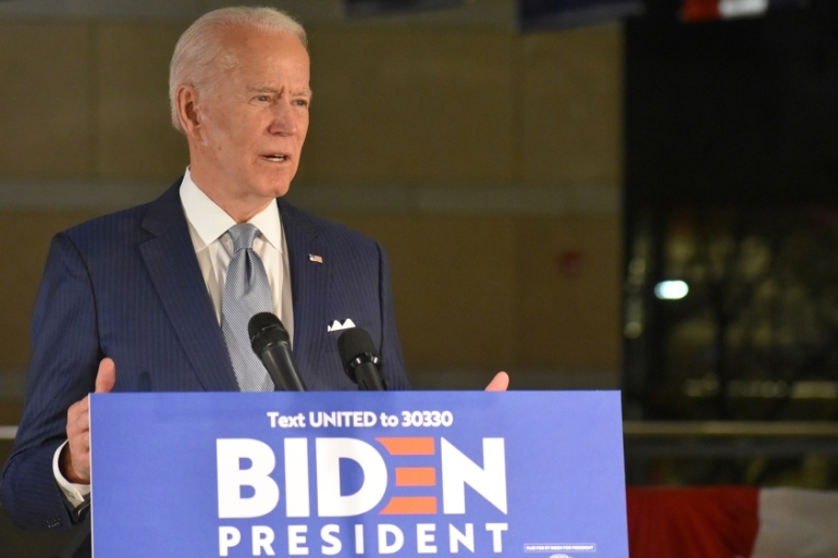 United States presidential candidate Joe Biden delivers remarks at the National Constitution Center in Philadelphia on March 10, 2020 [Kyle Mazza/Anadolu]
