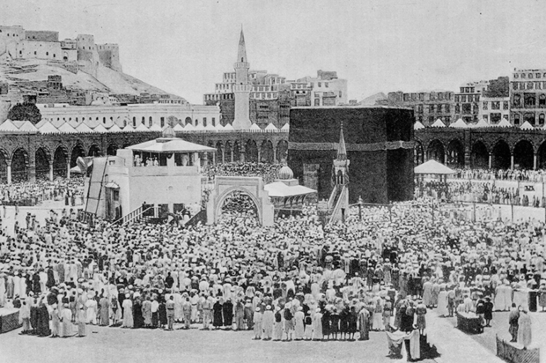Crowds gather on a pilgrimage at the Kaaba, the birthplace of Prophet Mohammed, Mecca, July 1889. Devastating cholera outbreaks several times throughout the 19th century resulted in the suspension of pilgrimages, including Hajj in 1837 and 1846 [Hulton Archive/Getty Images]