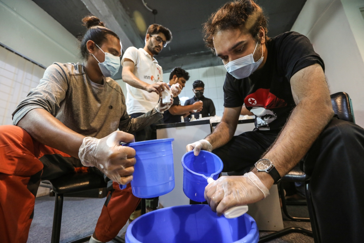 The chemistry department of Bangladesh University of Engineering and Technology has started making hand sanitisers.The project's goal is to distribute hand sanitisers in hospitals and other medical institutions in Dhaka free of charge. [Mahmud Hossain Opu/Al Jazeera]