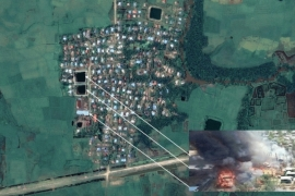 Satellite imagery is consistent with witness accounts of the time of the fires and number of buildings affected during the attack on an ethnic Rakhine village [Courtesy of Human Rights Watch]