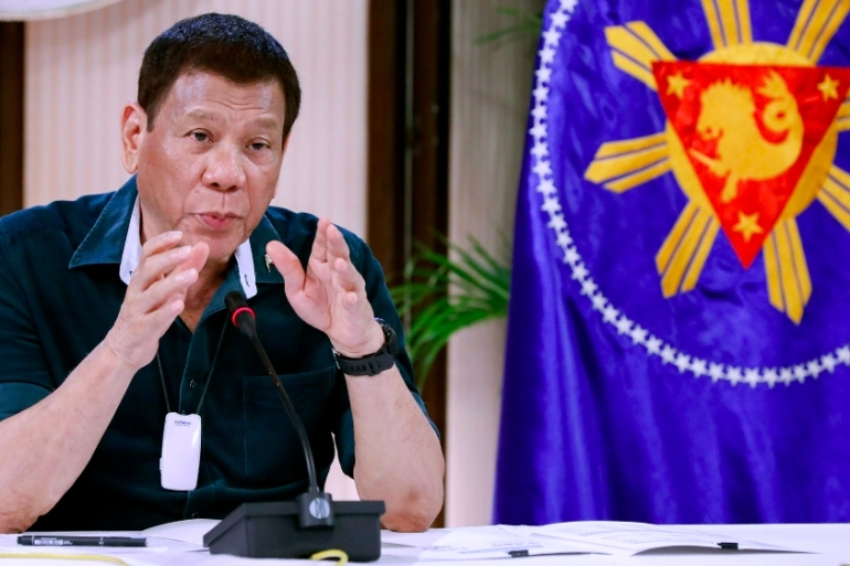 Duterte also ordered on Tuesday the extension of quarantine in Metro Manila and six other areas across the the country until the end of November [File: Presidential Palace via AP]
