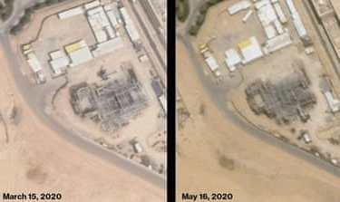 King Abdulaziz City of Science and Technology, Riyadh: a satellite image from May 16, 2020 (left) shows an almost completed roof now conceals the cylindrical reactor vessel, which was still visible through roof beams in a satellite photo from March 15, 2020 [Google Earth (March 2020), Planet Labs (May 2020) via Bloomberg]