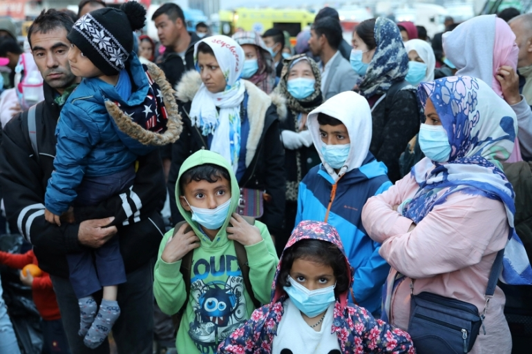 Auhorities have so far reported no coronavirus cases in the Aegean island camps for migrants and refugees [Goran Tomasevic/Reuters]