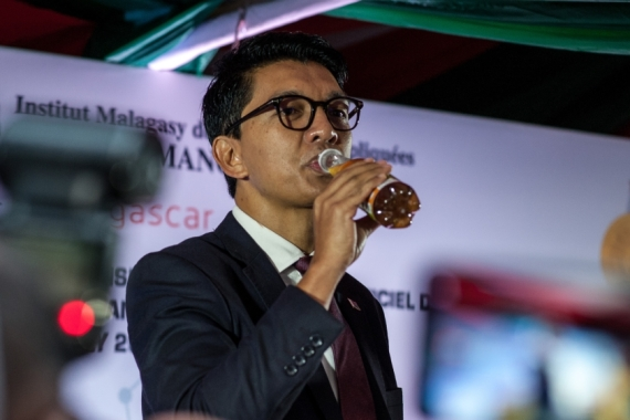 In April, President Rajoelina launched a local herbal concoction he says prevents coronavirus [Henitsoa Rafalia/Anadolu]