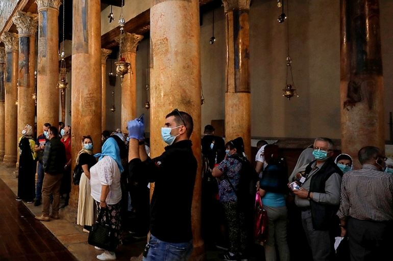 The Church of the Nativity in Bethlehem is expected to witness tens of thousands of visitors and worshippers for the Easter holiday next month [Mussa Qawasma/Reuters]