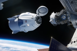 The SpaceX Crew Dragon spacecraft docking to the International Space Station in 2020, the same capsule is being used in this week's launch [File: SpaceX]