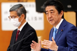 Abe declared a month-long state of emergency on April 7 [Eugene Hoshiko/Pool/Reuters]